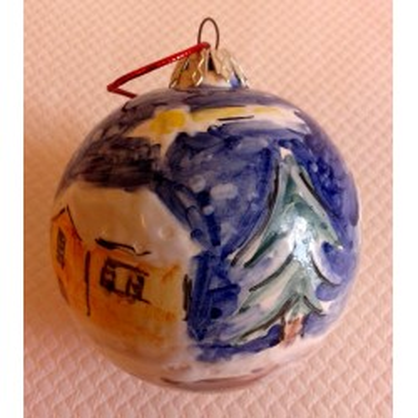 Pallina di ceramica Natalizia, Paesaggio con neve