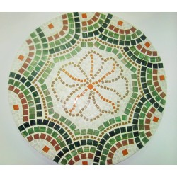 Piano di tavolo mosaico con pietre in pasta vitrea